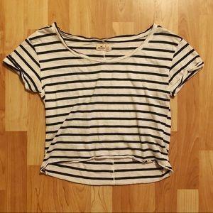 Hollister Striped Tee Shirt Crop Top Blue / White